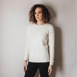 Fuzzy Ivory Crew Neck Sweater